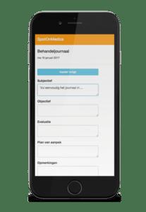 Behandeljournaal SpotOnMedics mobiele agenda